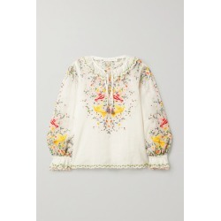 Zimmermann - Carnaby Embroidered Ramie Top - Ivory found on MODAPINS from NET-A-PORTER UK for USD $676.33