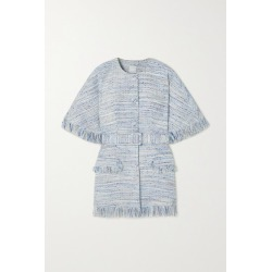 Huishan Zhang - Xena Belted Fringed Tweed Jacket - Blue found on MODAPINS from NET-A-PORTER UK for USD $1154.49