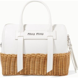 Miu Miu - Textured-leather And Rattan Tote - White found on MODAPINS from NET-A-PORTER UK for USD $1819.03