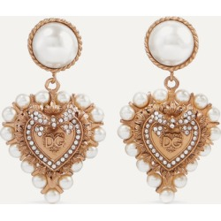 Dolce & Gabbana - Gold-tone, Faux Pearl And Crystal Clip Earrings - one size found on Bargain Bro UK from NET-A-PORTER UK
