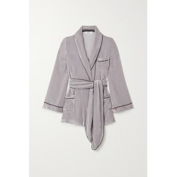 Sleeping with Jacques - The Bon Vivant Belted Piped Velvet Robe - Taupe found on Bargain Bro India from NET-A-PORTER for $164.50