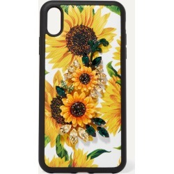Dolce & Gabbana - Embellished Floral-print Textured-leather Iphone Xs Max Case - Yellow found on Bargain Bro UK from NET-A-PORTER UK