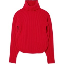 Antonio Berardi - Cutout Ribbed Wool And Cashmere-blend Turtleneck Sweater - Red found on MODAPINS from NET-A-PORTER for USD $479.00