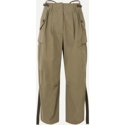 Givenchy - Pleated Canvas Tapered Pants - Army green found on Bargain Bro UK from NET-A-PORTER UK
