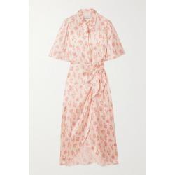 Les Rêveries - Ruffled Floral-print Silk-satin Wrap Midi Dress - White found on Bargain Bro UK from NET-A-PORTER UK