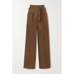 Max Mara - Lisotte Belted Pinstriped Wool-blend Wide-leg Pants - Brown found on Bargain Bro UK from NET-A-PORTER UK