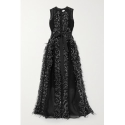 Huishan Zhang - Beau Feather And Grosgrain-trimmed Silk-organza Gown - Black found on MODAPINS from NET-A-PORTER UK for USD $3540.07