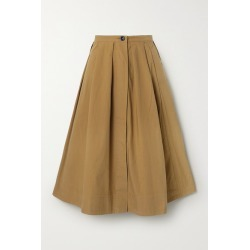 Alex Mill - Pleated Cotton-poplin Midi Skirt - Brown found on MODAPINS from NET-A-PORTER UK for USD $170.60