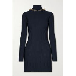 Dion Lee - Chain-embellished Open-back Ribbed-knit Mini Dress - Midnight blue found on MODAPINS from NET-A-PORTER UK for USD $469.02