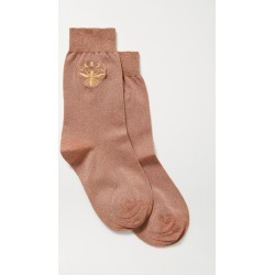 Maria La Rosa - Embroidered Metallic Stretch-knit Socks - Copper found on Bargain Bro India from NET-A-PORTER for $70.00