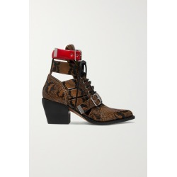 Chloé - Rylee Cutout Snake-effect Leather Ankle Boots - Snake print found on Bargain Bro UK from NET-A-PORTER UK