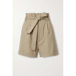 Anine Bing - Kinsley Belted Grain De Poudre Shorts - Sand found on MODAPINS from NET-A-PORTER UK for USD $226.21