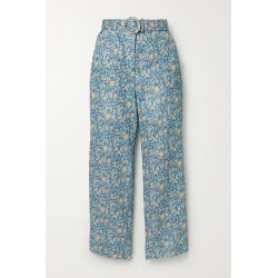 Zimmermann - Carnaby Belted Cropped Floral-print Linen Flared Pants - Light blue found on MODAPINS from NET-A-PORTER UK for USD $425.84