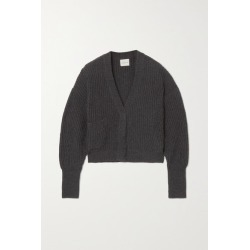 Le Kasha - Monaco Cropped Ribbed Cashmere Cardigan - Charcoal found on MODAPINS from NET-A-PORTER UK for USD $800.98