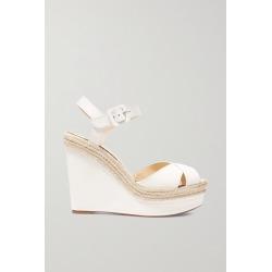 Christian Louboutin - Almeria 120 Leather Espadrille Wedge Sandals - White