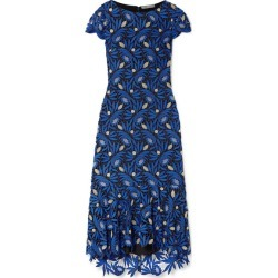 Alice Olivia - Cleora Ruffled Metallic Guipure Lace Midi Dress - Bright blue found on MODAPINS from NET-A-PORTER for USD $385.00