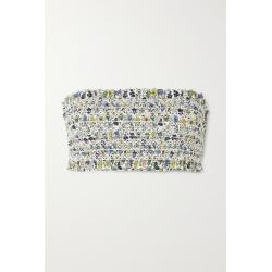 Tory Burch - Costa Shirred Floral-print Bandeau Bikini Top - Blue found on Bargain Bro UK from NET-A-PORTER UK