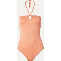 Peony - Net Sustain Metallic Cutout Halterneck Swimsuit - Antique rose found on Bargain Bro India from NET-A-PORTER for $170.00