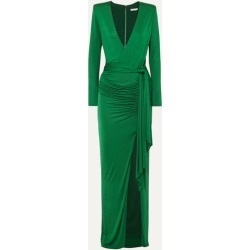 Alice Olivia - Kyra Wrap-effect Ruched Stretch-jersey Maxi Dress - Forest green found on MODAPINS from NET-A-PORTER for USD $485.00