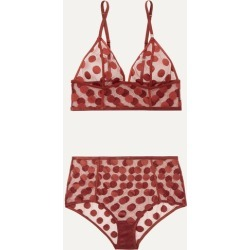 Love Stories - Dawn And Moonflower Polka-dot Stretch-mesh Bra And Briefs Set - Claret found on Bargain Bro India from NET-A-PORTER for $56.00