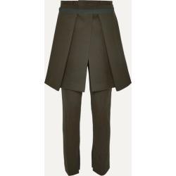 Sacai - Melton Layered Grosgrain-trimmed Wool-blend Slim-leg Pants - Army green found on Bargain Bro UK from NET-A-PORTER UK
