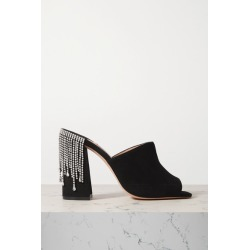 Jimmy Choo - Baia 100 Crystal-embellished Suede Mules - Black found on Bargain Bro India from NET-A-PORTER for $885.00