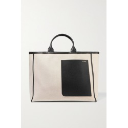 Valextra - Shopping Two-tone Leather-trimmed Canvas Tote - Beige found on MODAPINS from NET-A-PORTER UK for USD $2056.55