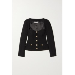 Alessandra Rich - Crystal-embellished Wool-blend Tweed Jacket - Black found on MODAPINS from NET-A-PORTER for USD $1239.00