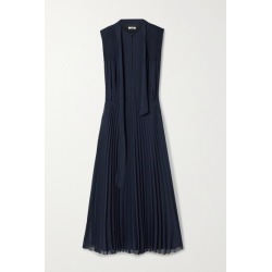Jason Wu - Tie-neck Pleated Crepe De Chine Midi Dress - Navy found on MODAPINS from NET-A-PORTER for USD $595.00