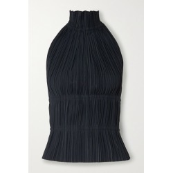 Dion Lee - Open-back Plissé-crepe Halterneck Top - Midnight blue found on MODAPINS from NET-A-PORTER for USD $390.00