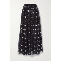 Erdem - Lindie Polka-dot Sequined Silk-chiffon Skirt - Black found on Bargain Bro UK from NET-A-PORTER UK