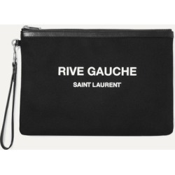 SAINT LAURENT - Leather-trimmed Printed Canvas Pouch - Black found on Bargain Bro UK from NET-A-PORTER UK