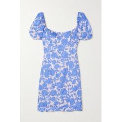 De La Vali - Koko Floral-print Satin-jacquard Mini Dress - Blue found on MODAPINS from NET-A-PORTER for USD $280.00