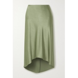 Alice Olivia - Maeve Asymmetric Hammered-satin Midi Skirt - Gray green found on MODAPINS from NET-A-PORTER for USD $265.00