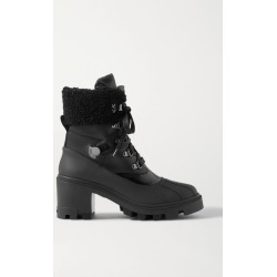 Moncler - Corinne Leather And Faux Shearling-trimmed Rubber Ankle Boots - Black found on Bargain Bro UK from NET-A-PORTER UK