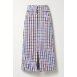 Rosie Assoulin - Checked Cotton-blend Jacquard Midi Skirt - Blue found on Bargain Bro UK from NET-A-PORTER UK
