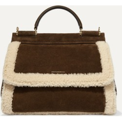 Dolce & Gabbana - Sicily Soft Medium Shearling-trimmed Suede Tote - Brown found on Bargain Bro UK from NET-A-PORTER UK