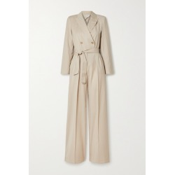 Max Mara - Diana Double-breasted Belted Pinstriped Wool-twill Jumpsuit - Sand found on Bargain Bro UK from NET-A-PORTER UK