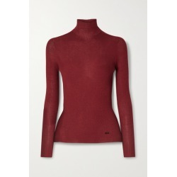 Akris - Ribbed Cashmere And Silk-blend Turtleneck Sweater - Burgundy found on MODAPINS from NET-A-PORTER UK for USD $957.85