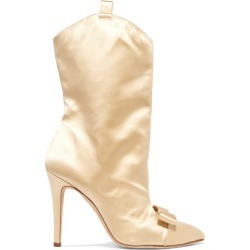 Alessandra Rich - Bow-embellished Satin Ankle Boots - Beige found on MODAPINS from NET-A-PORTER for USD $651.00
