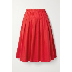Alex Mill - Pleated Cotton-poplin Midi Skirt - Red found on MODAPINS from NET-A-PORTER UK for USD $146.14