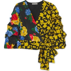 Alice Olivia - Dominica Printed Silk Crepe De Chine Wrap Blouse - Black found on MODAPINS from NET-A-PORTER for USD $395.00