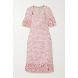 Huishan Zhang - Iris Fringed Tweed Midi Dress - Pink found on MODAPINS from NET-A-PORTER UK for USD $1338.05