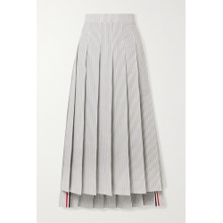 Thom Browne - Pleated Grosgrain-trimmed Striped Cotton-seersucker Midi Skirt - White found on Bargain Bro India from NET-A-PORTER for $1290.00