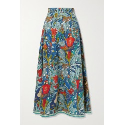 Le Sirenuse Positano - Camille Printed Cotton Maxi Skirt - Blue found on MODAPINS from NET-A-PORTER UK for USD $378.53