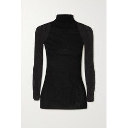 Max Mara - Leisure Veles Stretch-knit And Tulle Turtleneck Top - Black found on Bargain Bro UK from NET-A-PORTER UK