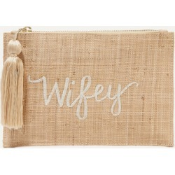 Kayu - Wifey Embroidered Woven Straw Pouch - Sand found on Bargain Bro UK from NET-A-PORTER UK