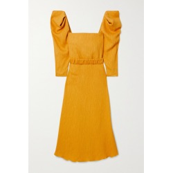 Johanna Ortiz - Lotus And Beetle Belted Textured Woven Midi Dress - Yellow found on MODAPINS from NET-A-PORTER for USD $1150.00