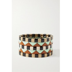 Roxanne Assoulin - Terrazzo Set Of Five Enamel And Gold-plated Bracelets - Black