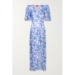 De La Vali - Ohio Floral-print Satin-jacquard Dress - Blue found on MODAPINS from NET-A-PORTER for USD $615.00